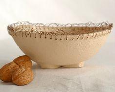 Knit Me A Bowl  A OOAK white clay bowl by hamutalbenjoceramics, $48.00