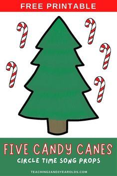 Work on counting skills with this Five Little Candy Canes activity. Fun for the toddler and preschool December circle time! #Christmas #printable #candycanes #circletime #counting #2yearolds #3yearolds #toddlers #preschool #teaching2and3yearolds Circle Crafts Preschool, Preschool Songs, Preschool Learning Activities, Preschool Activities, Preschool Centers, Christmas Activities For Toddlers, Preschool Christmas, Toddler Christmas, Christmas Crafts