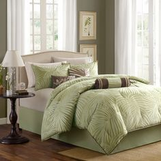 @Overstock - Madison Park Bermuda Sage 7-piece Comforter Set - Wrap yourself in fashionable and luxurious linens with this seven-piece comforter set. This set features everything you need to give your bedding a complete upgrade. The delicate ivory palm print further complements this beautiful set.  http://www.overstock.com/Bedding-Bath/Madison-Park-Bermuda-Sage-7-piece-Comforter-Set/6603738/product.html?CID=214117 $93.99