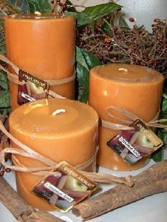 Set of 3 Round Pillars Cinnamon Apple Scent Candle by Unique Aromas. $35.63. Cinnamon Apple scent. Price per set candle. Candle color may vary from photograph. This set of candles is sure to bring joy and warmth to all those in the presence of them. Set of 3 candles.Some assembly may be required. Please see product details.Some assembly may be required. Please see product details.