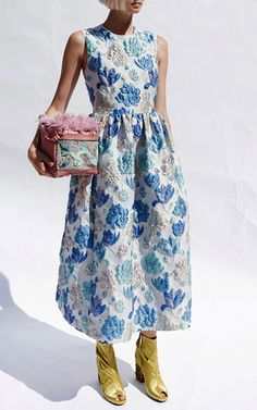 Embroidered Flower Sleeveless Midi Dress  by ALENA AKHMADULLINA for Preorder on Moda Operandi