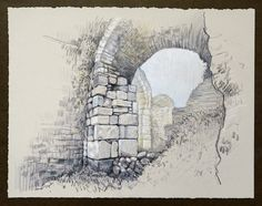Travel Drawing: Miletus, Turkey Prismacolor Pencil on Paper x 2016 Travel Drawing, Turkey Travel, Prismacolor, Mount Rushmore, Sketches, Mountains, Architecture, Drawings, Artwork