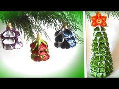 Ёлочка из атласных лент на новый год, ёлочные игрушки канзаши мастер класс. - YouTube