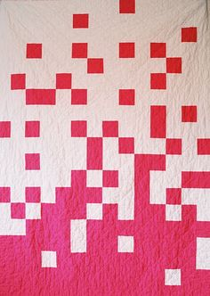 Another great quilt from Creative Chicks! This is called Pixel Quilt. Quilting Projects, Quilting Designs, Sewing Projects, Quilt Design, Postage Stamp Quilt, Red And White Quilts, Textiles, Boy Quilts, Quilt Blocks