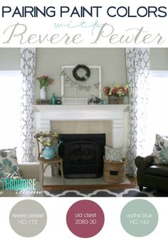 Pairing Paint Colors with Revere Pewter Grey Paint Colors, Interior Paint Colors, Paint Colors For Home, Interior Design, Gray Paint, Room Colors, Wall Colors, House Colors, Stenciled Curtains