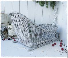 """Купить Санки плетеные ажурные """"Время чудес"""" - серый, санки плетеные, сани новогодние, для фруктов"""