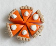 Youll love using these cute, realistic looking pumpkin pie charms for jewelry and craft projects!  Each pie slice has been crafted by hand, no