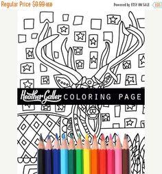 1 Day Sale - 58% Off- Deer coloring, Animal antler Art coloring book, adult coloring book, coloring pages, adult coloring pages, coloring bo