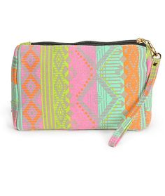 This small size pouch is made with a neon tribal stripe canvas exterior and features a removable wrist strap making it the perfect way to carry all your essentials in style.