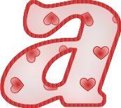 Alfabeto de hadas con letras con corazones.