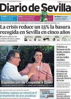 Los Titulares y Portadas de Noticias Destacadas Españolas del 3 de Junio de 2013 del Diario de Sevilla ¿Que le parecio esta Portada de este Diario Español?
