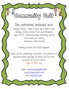 An awesome integrated Community Unit! Communities Unit, Rules And Laws, My Community, When I Grow Up, Differentiation, Writing Activities, Social Studies, Growing Up, Things I Want
