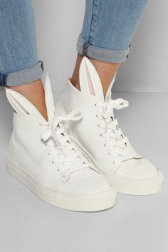 Net-A-Porter: Finds -- Minna Parikka Bunny leather high-top sneakers (trainers) Pretty Shoes, Beautiful Shoes, High Top Sneakers, High Heels, Leather High Tops, White Leather, Fashion Flats, Shoes Outlet, Me Too Shoes