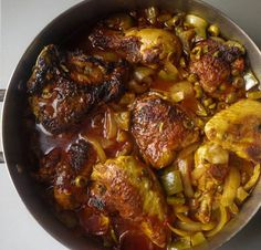 Latin Braised Chicken (Pollo Guisado) - Braised chicken with blend of citrus juices, olives, pimientos, capers, peppers, onions and savory tomato sauce.