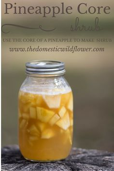This post will share how to use the part of the pineapple that is so often tossed or composted and thus saves and makes terrific use of it to make a delicious, flavorful shrub. Read on to see how one magic step makes the core the best part of the shrub! Canning Recipes, Gourmet Recipes, Healthy Recipes, Canning 101, Scd Recipes, Recipies, Shrub Drink, Shrub Recipe, Drinking Vinegar