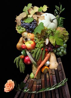 New York based photographer Klaus Enrique Gerdes has recreated images by Italian painter Giuseppe Arcimboldo who created real-life portraits in the Century using fruit, vegetables, meat and flowers. Fruit And Veg, Fruits And Vegetables, Veggies, Giuseppe Arcimboldo, Sweet Paul, Illusion Art, Good Enough To Eat, Fruit Art, Food Humor