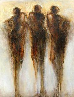 """Andrea Maguire  """"Resting Dancers Series""""  mixed media  48"""" x 32"""""""