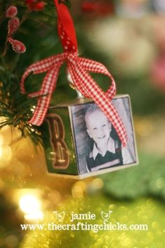 diy Picture block ornaments. Hobby Lobby blocks (.99) modge podge, scrapbook paper & picture