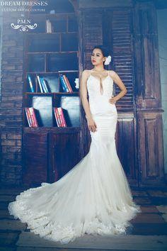 Spaghetti Strap Mermaid Wedding Dress With Sexy Back-Custom Made Wedding Dress-Lace Wedding Dress (Style # Katherine PB088)-Made To Order $2200+