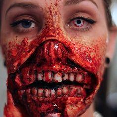 Halloween Zombie Face Make Up Halloween Zombie Makeup, Zombie Face, Scary Halloween, Halloween Costumes, Happy Halloween, Zombie Party, Scary Makeup, Sfx Makeup, Makeup Art