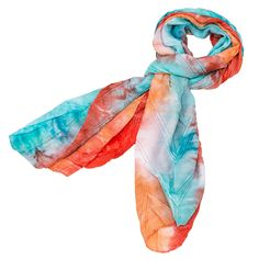 "This Textured Tie-Dye Scarf comes in 6 fun and bright tie-dyed color combinations just in time for spring and summer. This scarf is tie-dyed and has a unique texture. This scarf is tie-dyed with light blue, orange, and red colors. It measures 16"" x 63"". Made of 100% Polyester."