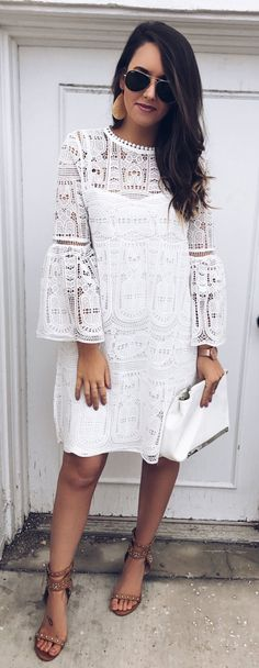 White Lace Dress & Brown Studded Sandals