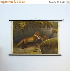 ON SALE Fox Family Poster  Baby Animal by VintageSchoolCharts