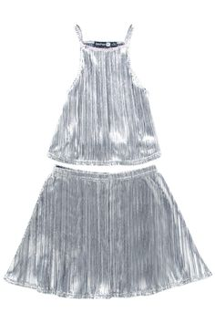 Girls Metallic Party Top & Skirt Set