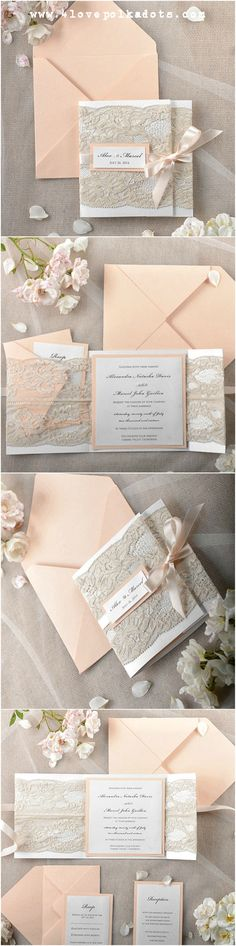 Wedding peach invitations #4lovepolkadots #wedding #peach #pastelwedding #lace #vintagewedding #rusticwedding #weddingstationery #weddinginvitations