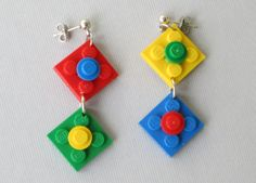Brick Lovers Earrings Red Blue Yellow by ChristopherCreations