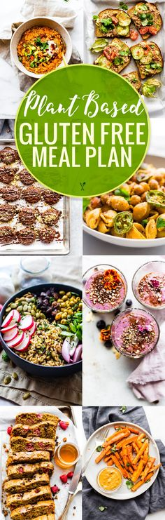 This plant based gluten-free meal plan includes plant based recipes for breakfast lunches dinners snacks and desserts. They are all nutritious wholesome and easy gluten-free meals that are plant based and many of these are vegan recipes too. Vegan Meal Plans, Free Meal Plans, Vegan Meal Prep, Gluten Free Diet Plan, Gluten Free Recipes, Vegetarian Recipes, Healthy Recipes, Vegetarian Protein, Pastas Recipes