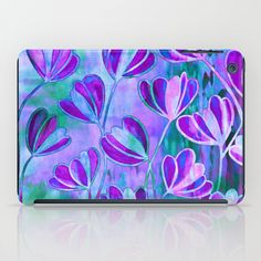 """Efflorescence, Lavender Purple Blue"" by Ebi Emporium on Society 6, Colorful Whimsical Elegant Periwinkle Turquoise Lilac Chic Floral Pattern Watercolor Painting Flowers Design Fine Art iPad case iPad Mini Cover Tech Device #art #fineart #floral #floralpattern #Society6 #EbiEmporium #ipadcase #ipadcover #ipad #ipadmini #techdevice #floralipad #watercolor #techie #office #purple #blue #lovely #garden #spring #summer"