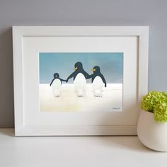 Celebrate your own little penguins family with this personalised print by Elephant Grey Ltd