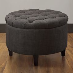 @Overstock - Add extra storage with this Sasha round cocktail ottoman.  The frame is constructed of solid hardwood and wrapped with 1.8 density foam.http://www.overstock.com/Home-Garden/Sasha-Dum-Dum-Charcoal-Ottoman/7536143/product.html?CID=214117 $171.99