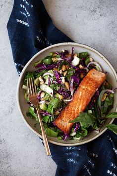 thai baby bok choy salad with salmon recipe from cooking with cocktail rings #salad #salmon #thai