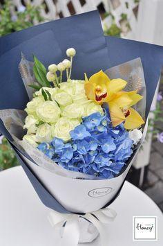 黄绿蓝色系花束