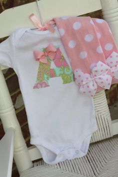 Baby Girl Outfit -- Leg warmers and Initial Onesie -- pretty pastels hand cut initial applique via etsy... ADORABLE!