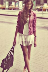 Red Leather Jacket and White Light Weight Dress #loveitall
