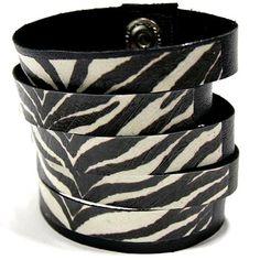 Bransoletka skórzana czarno biała zebra Hady-Surowiec.pl #zebra #zeberka #bransoleta #skórzana #skóra