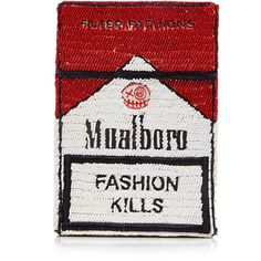 Mualboro Cigarette Bag   Moda Operandi ($535) ❤ liked on Polyvore featuring bags, handbags, chain strap handbag, chain strap purse, beaded purse, white beaded purse and white bag