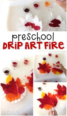 This drip art fire is an adorable craft that incorporates lots of fine motor skills practice. Great for tot school, preschool, or even kindergarten! Fire Safety Crafts, Fire Safety Week, Preschool Fire Safety, Fire Safety For Kids, Fireman Crafts, Firefighter Crafts, Community Helpers Crafts, Fire Prevention Week, Preschool Crafts