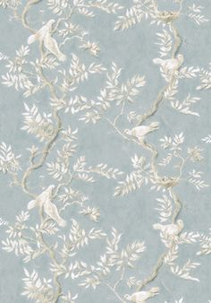 Doves fabric and wallpaper, in Summer Blue colourway. Part of our #EnglishEthnic collection