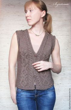 Vest With Brown Buttons - Best Knitting Cable Knitting, Free Knitting, Pull Poncho, Diy Crafts Knitting, Knit Basket, Vest Pattern, Knit Vest, Knitting Designs, Knitting Patterns