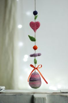 Easter Egg Decoration Needle Felt Egg by FeltArtByMariana on Etsy