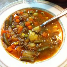 THM E- Quick and Easy Beef Vegetable Soup. Rinse beef, sub radishes for potatoes, leave out corn, extra green beans.