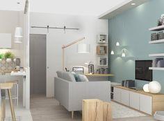 Coin salon bleu baltique (Agence architecture Marion Lanoe)