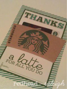"Easy Starbucks Thank You Gift ""Thanks a Latte"""