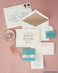 """See the """"Tiffany Blue-Trimmed Invitation"""" in our Classic Wedding Invitations gallery"""
