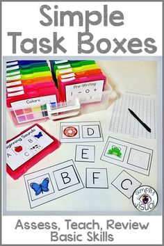 Assess your students on basic skills using these task boxes and data sheets Autism Classroom, New Classroom, Special Education Classroom, Kindergarten Classroom, Early Finishers Kindergarten, Kindergarten Morning Work, Special Education Activities, Life Skills Classroom, Kindergarten Lessons