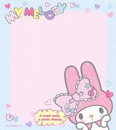 Kawaii memo paper - My Melody - Sanrio My Melody Wallpaper, Sanrio Wallpaper, Kawaii Wallpaper, My Melody Sanrio, Hello Kitty My Melody, Hello Kitty Images, Printable Scrapbook Paper, Cute Notes, Flamingo Party